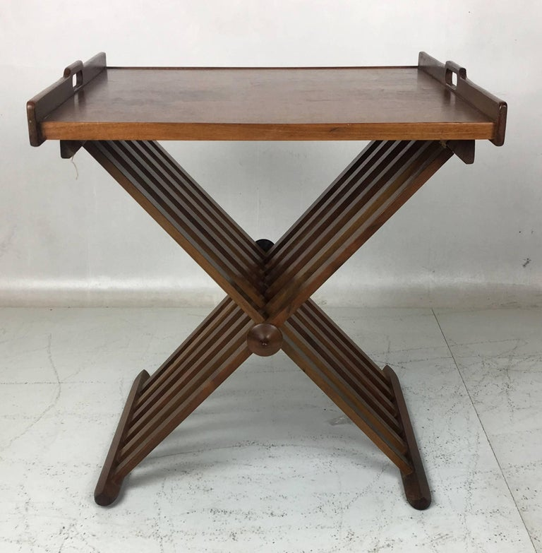 Pair of Walnut Tray Style Side Tables by Kipp Stewart 3