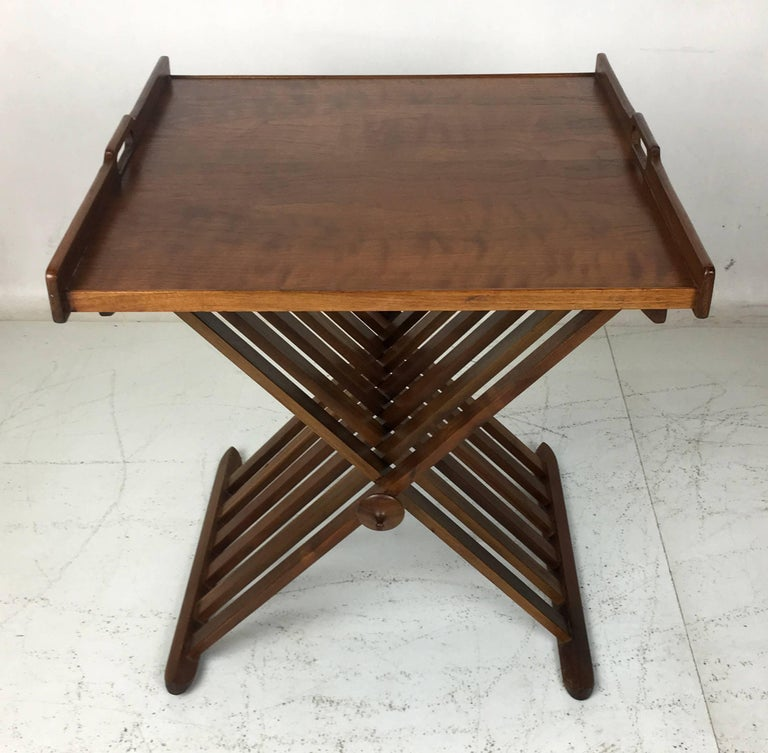 Pair of Walnut Tray Style Side Tables by Kipp Stewart 4