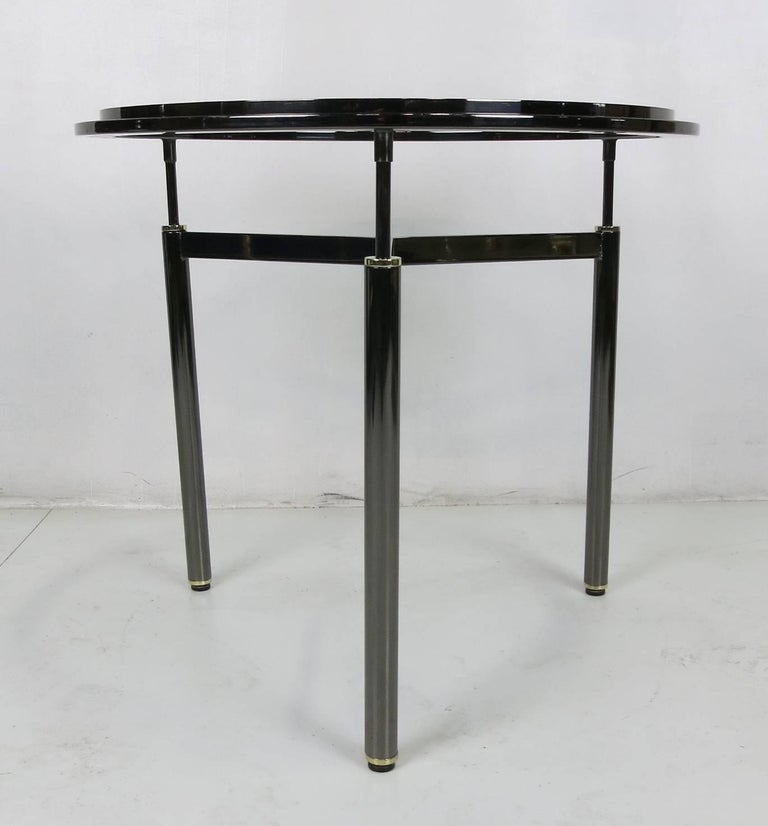 Modern Pair of Gunmetal and Brass Tripod Gueridons in the Style of John Saladino For Sale