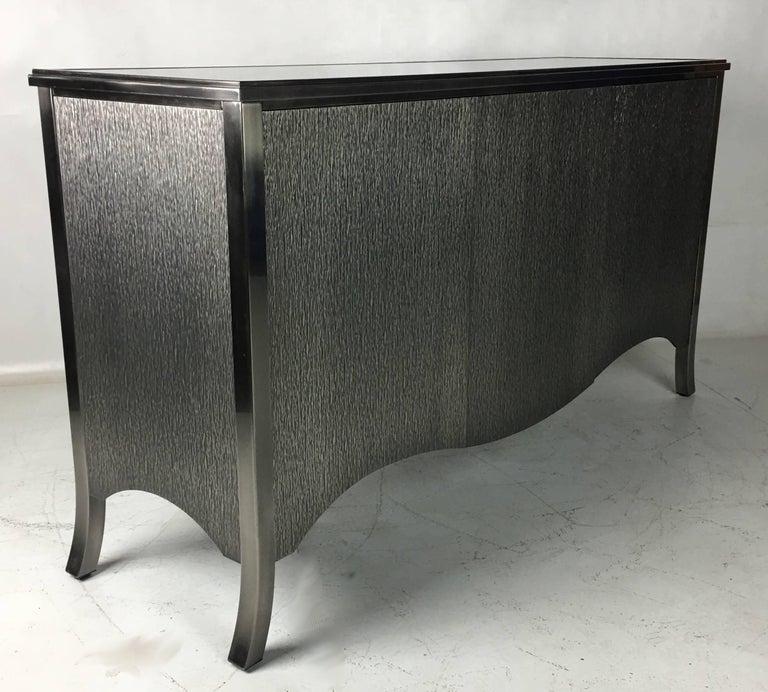 Modern Mastercraft Textured Gunmetal Steel Clad Sideboard Cabinet  For Sale