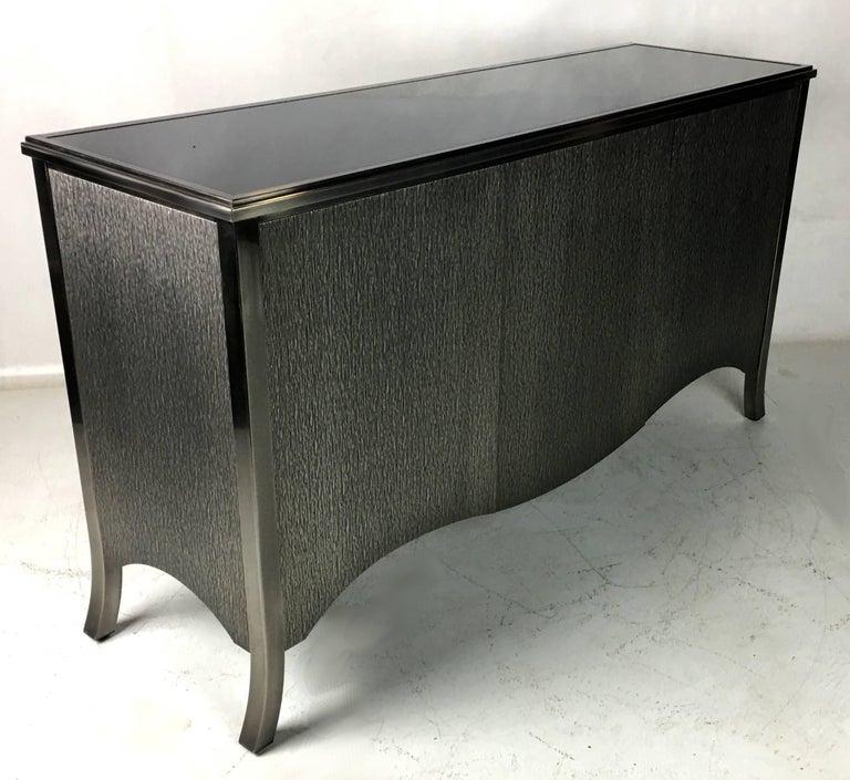 American Mastercraft Textured Gunmetal Steel Clad Sideboard Cabinet  For Sale
