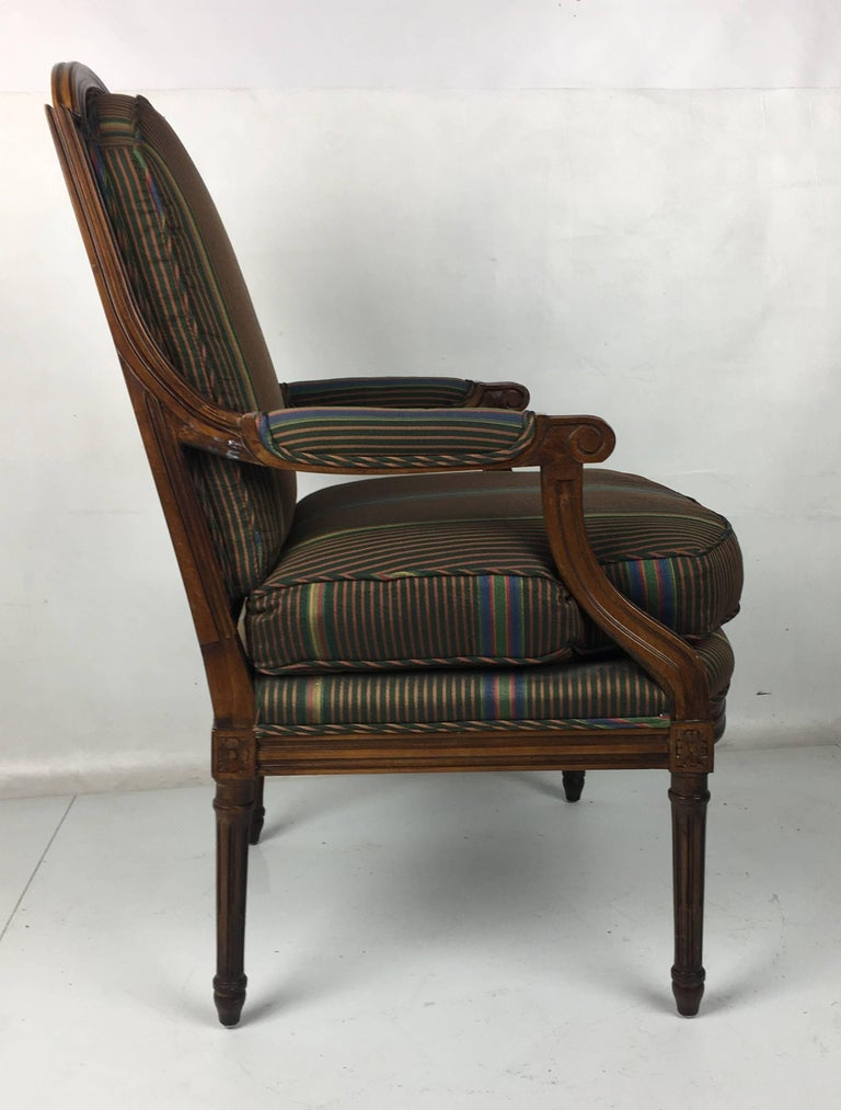 Italian Pair of Open Arm Bergeres by Baker Furniture For Sale