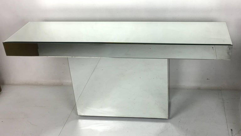 American Chic Mirror Clad Console For Sale