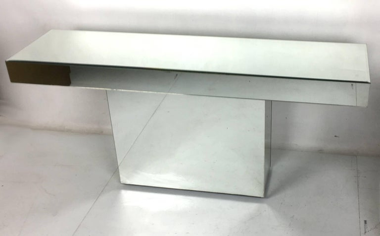 Mid-Century Modern Chic Mirror Clad Console For Sale