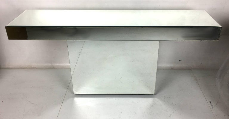 Mid-20th Century Chic Mirror Clad Console For Sale