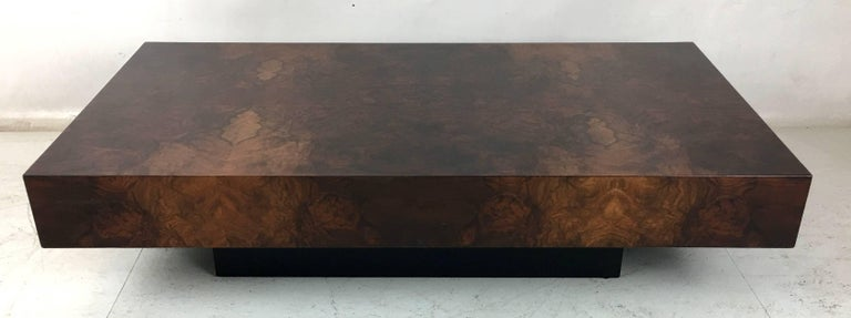 Modern Italian Bookmatched Burl Veneer Coffee Table For Sale