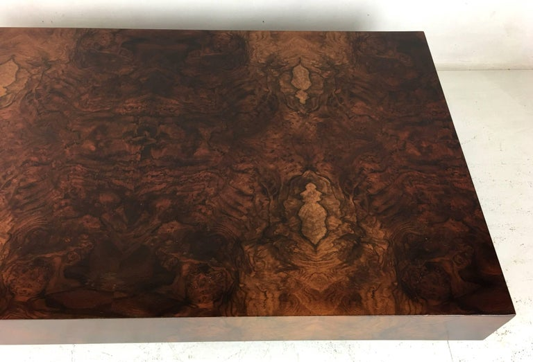 Italian Bookmatched Burl Veneer Coffee Table In Excellent Condition For Sale In San Leandro, CA