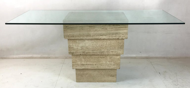 Modern Italian Travertine Base Writing Table For Sale