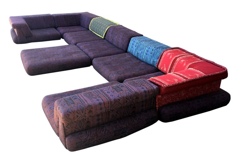 Late 20th Century Iconic Mah Jong Modular Sectional Sofa by Roche Bobois, 15 Pieces For Sale