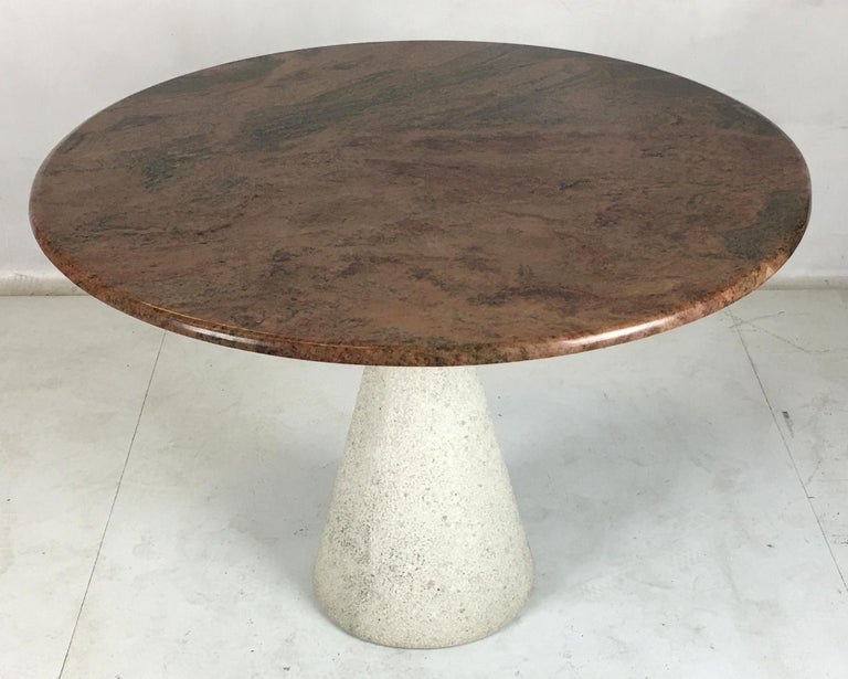 Mid-Century Modern Modernist Concrete and Steel Dining Table by Saporiti Italia For Sale