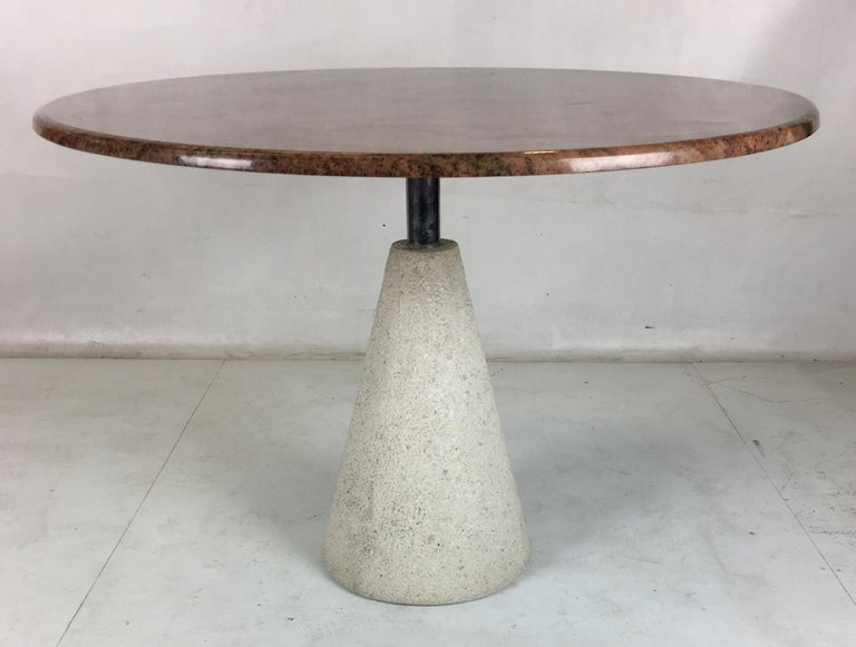 Italian Modernist Concrete and Steel Dining Table by Saporiti Italia For Sale