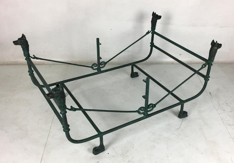 Italian Verdigris Bronze Coffee Table in the Style of Giacometti For Sale
