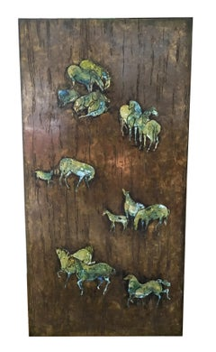Rare Large Etched Bronze Polychrome Wall Plaque by Philip & Kelvin LaVerne