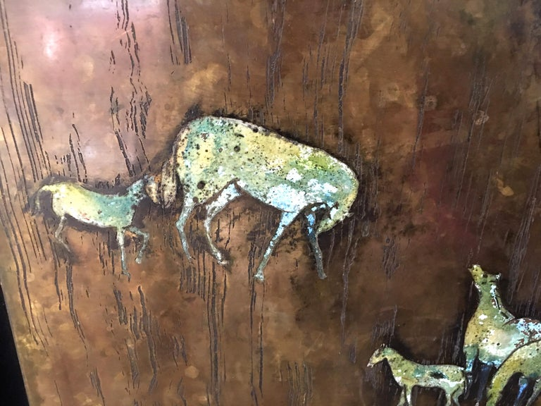 Late 20th Century Rare Large Etched Bronze Polychrome Wall Plaque by Philip & Kelvin LaVerne For Sale
