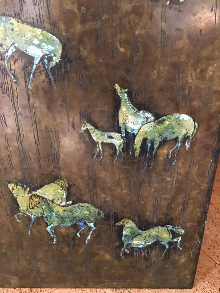 Rare Large Etched Bronze Polychrome Wall Plaque by Philip & Kelvin LaVerne For Sale 1