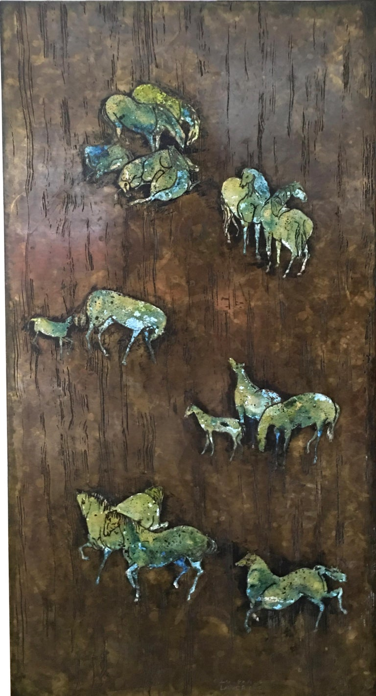 Rare Large Etched Bronze Polychrome Wall Plaque by Philip & Kelvin LaVerne For Sale 2
