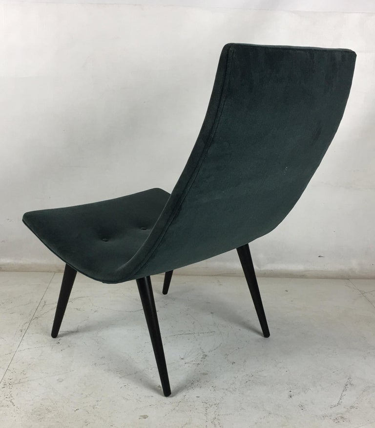 Mid-20th Century Pair of Thin Line Velvet Scoop Chairs For Sale