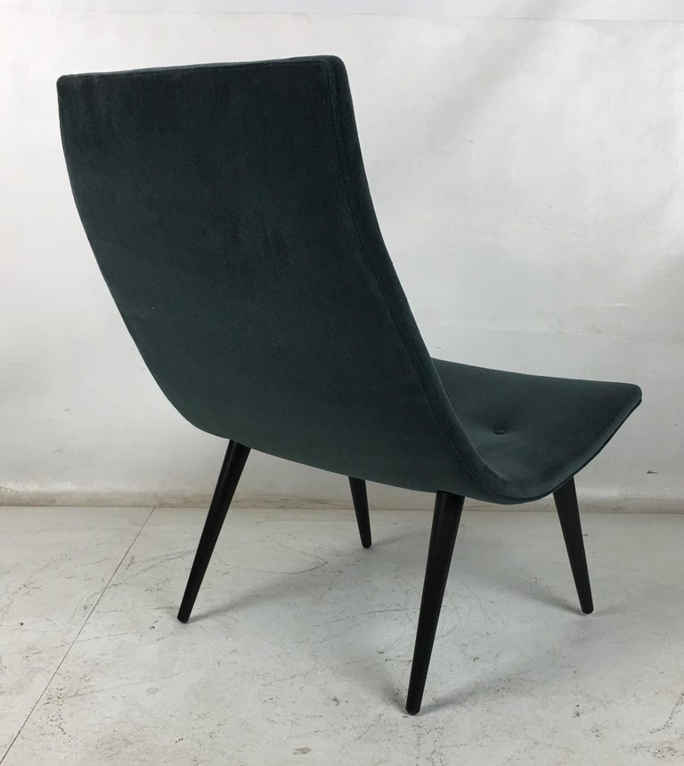 Velvet Pair of Thin Line Scoop Chairs in the Manner of Adrian Pearsall For Sale