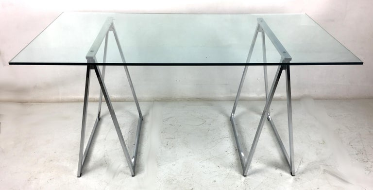Original Milo Baughman chrome saw horse desk or dining table. The bases are in very good original condition with all its original glides and hardware.