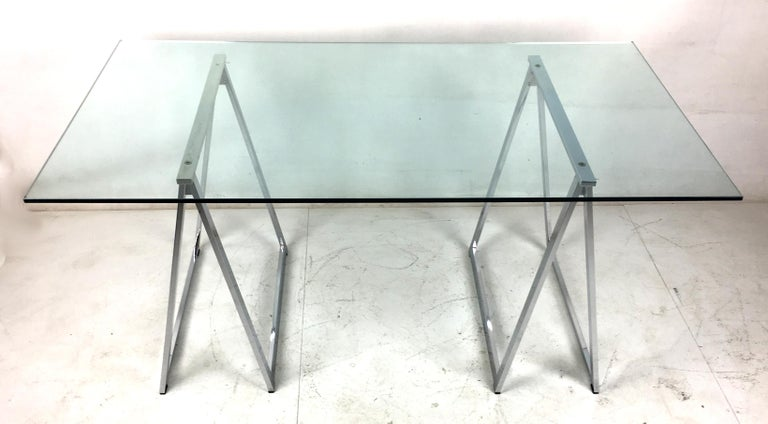 Mid-Century Modern Chrome Sawhorse Trestle Table by Milo Baughman for Thayer Coggin For Sale