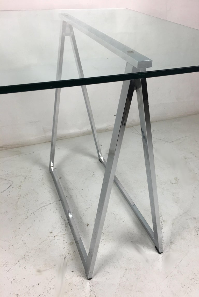 American Chrome Sawhorse Trestle Table by Milo Baughman for Thayer Coggin For Sale