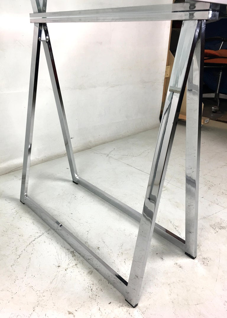 Chrome Sawhorse Trestle Table by Milo Baughman for Thayer Coggin In Good Condition For Sale In San Leandro, CA