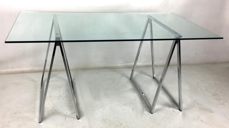 Glass Chrome Sawhorse Trestle Table by Milo Baughman for Thayer Coggin For Sale