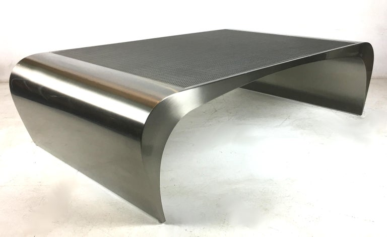 Brushed Monumental Sculptural Coffee Table by Brueton For Sale