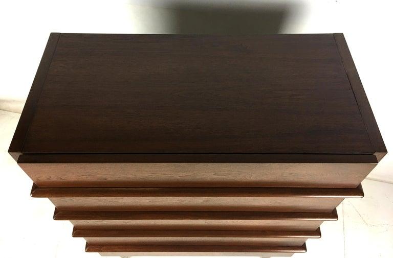 Handsome Modernist Dimensional Front Walnut Dresser For Sale 1