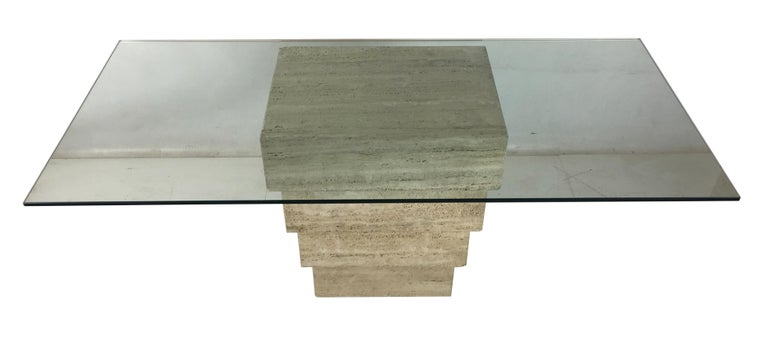 Large-scale 1970s Italian travertine writing table consisting of an inverted stack of travertine