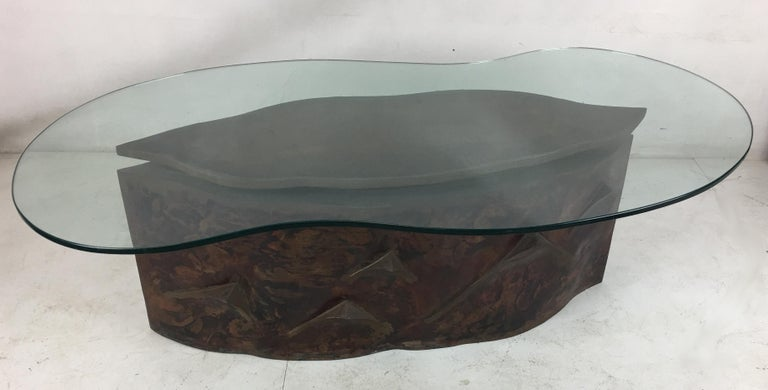 American Sculptural Bronze Coffee Table in the Style of Philip & Kelvin Laverne For Sale