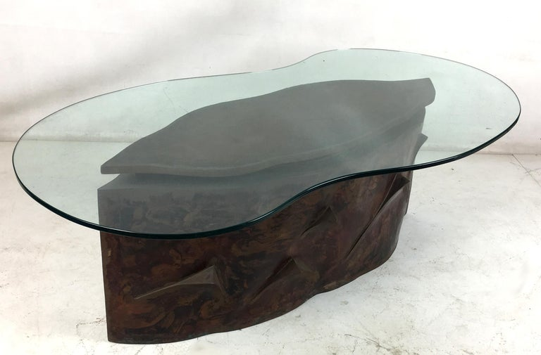 Sculptural Bronze Coffee Table in the Style of Philip & Kelvin Laverne In Excellent Condition For Sale In San Leandro, CA