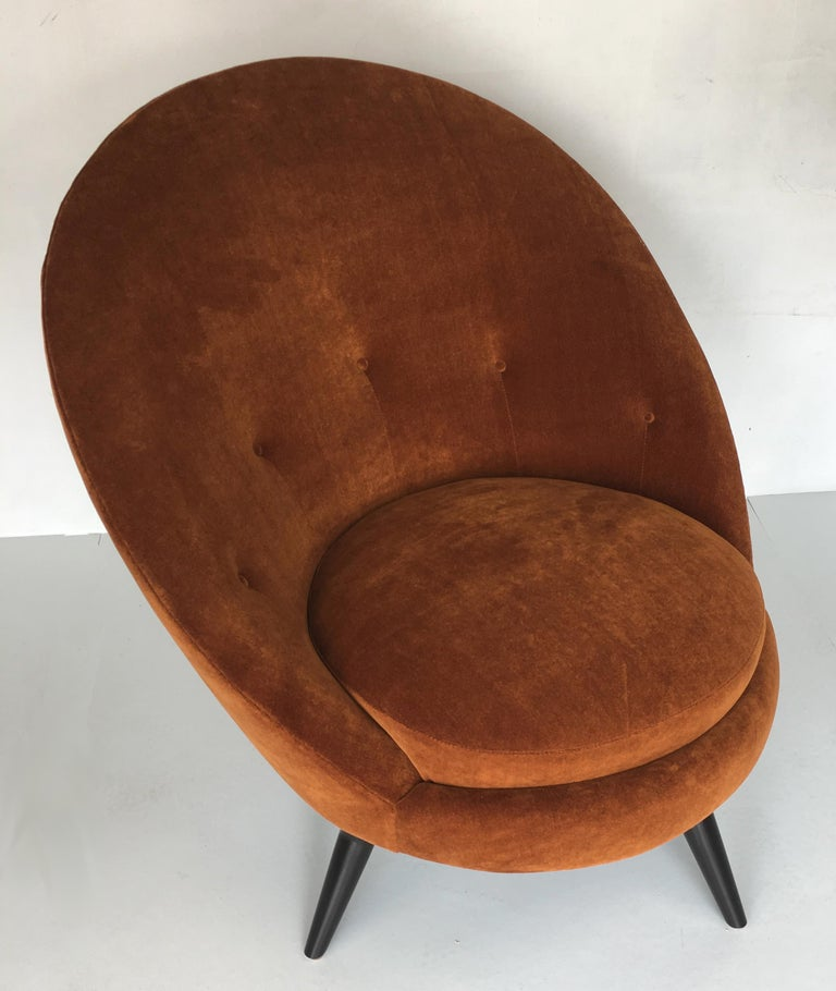 Mid-20th Century Pair of Jean Royère Style Swivel Egg Chairs For Sale