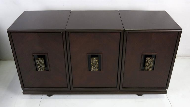 Mid-Century Modern Three-Piece Cabinet with Cityscape Style Door Hardware For Sale