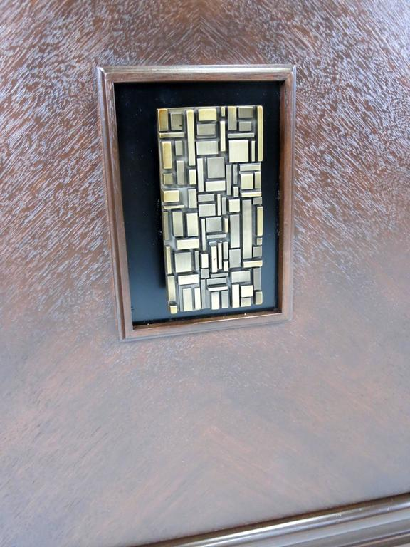 American Three-Piece Cabinet with Cityscape Style Door Hardware For Sale