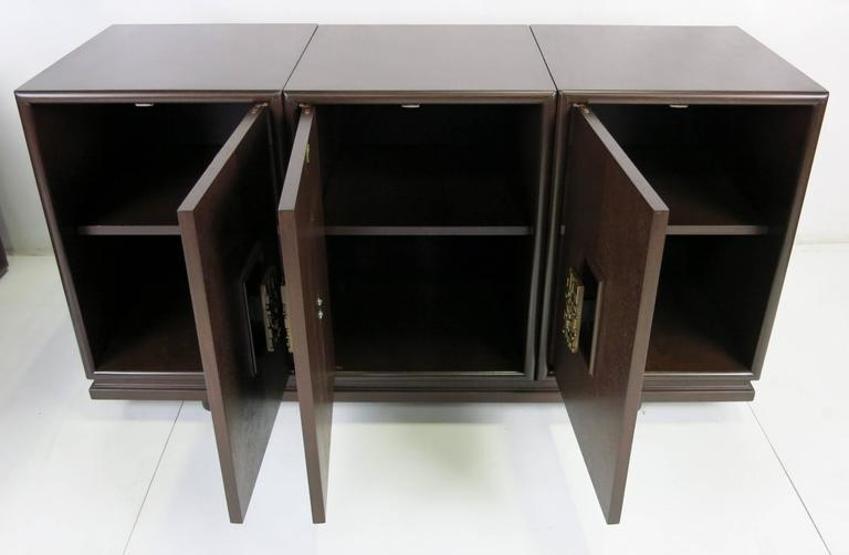 Three-Piece Cabinet with Cityscape Style Door Hardware In Excellent Condition For Sale In San Leandro, CA
