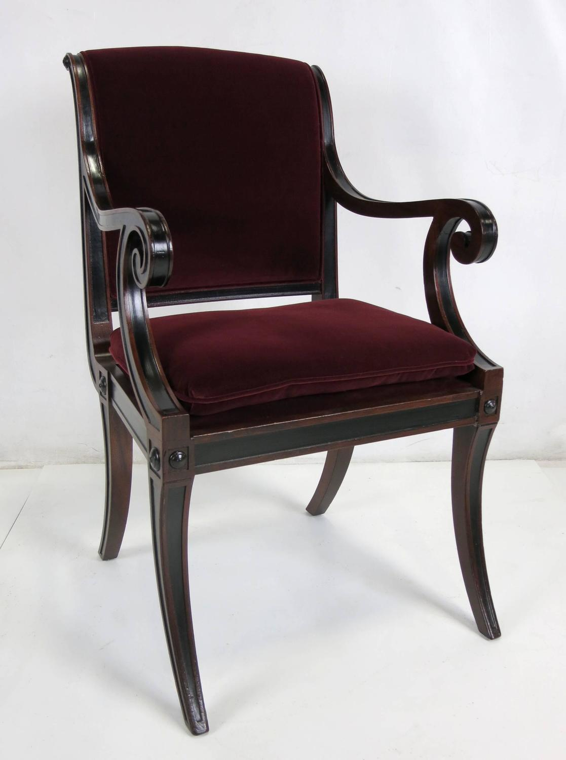 Set of four regency style dining chairs by baker furniture