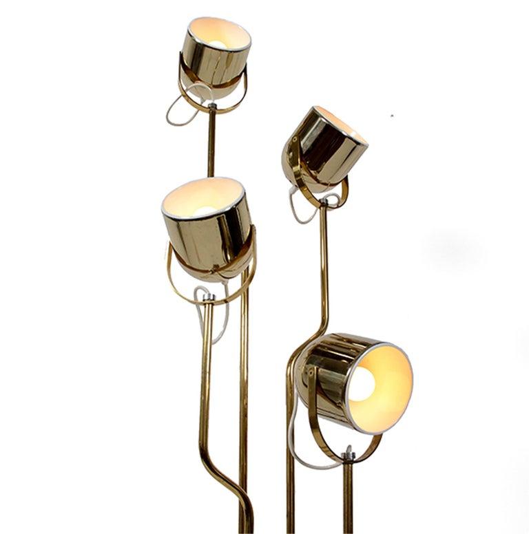 Modern 4-Arm Brass Floor Lamp by Reggiani For Sale