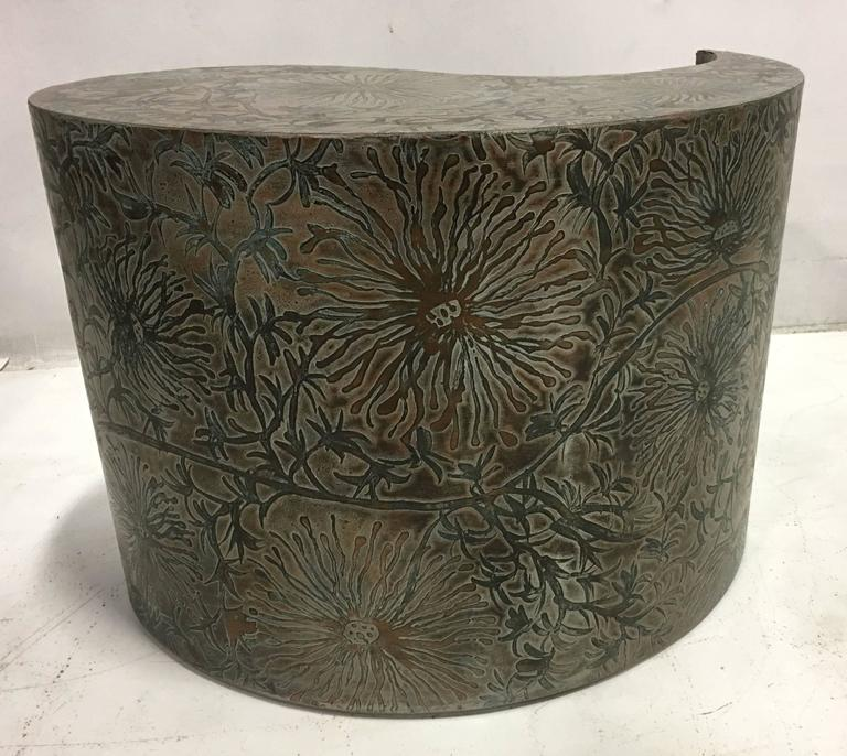 Pair of Etched Bronze Comma Form Side Tables In Excellent Condition For Sale In San Leandro, CA