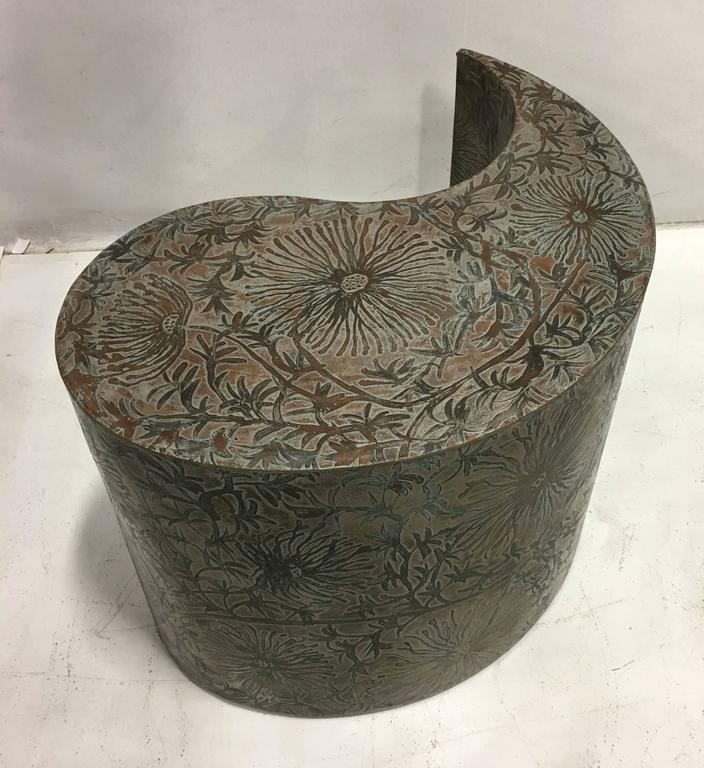 Late 20th Century Pair of Etched Bronze Comma Form Side Tables For Sale