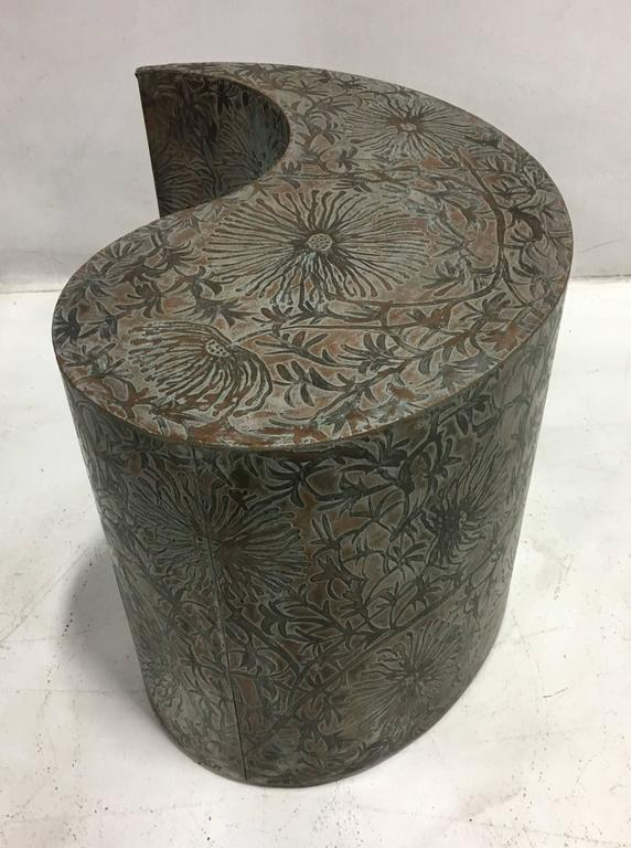 Pair of Etched Bronze Comma Form Side Tables For Sale 1