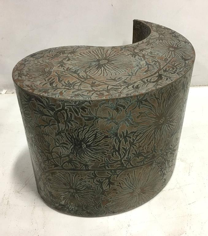 Pair of Etched Bronze Comma Form Side Tables For Sale 2