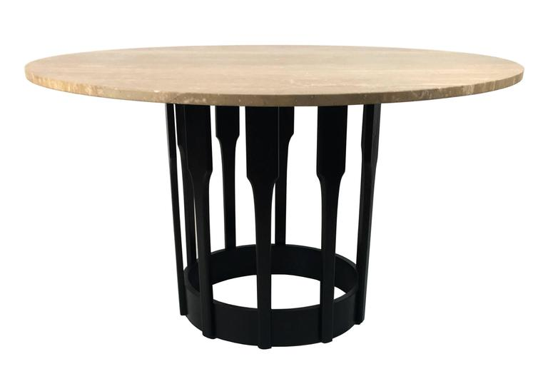 Ebonized Walnut Dining Table with Travertine top 2
