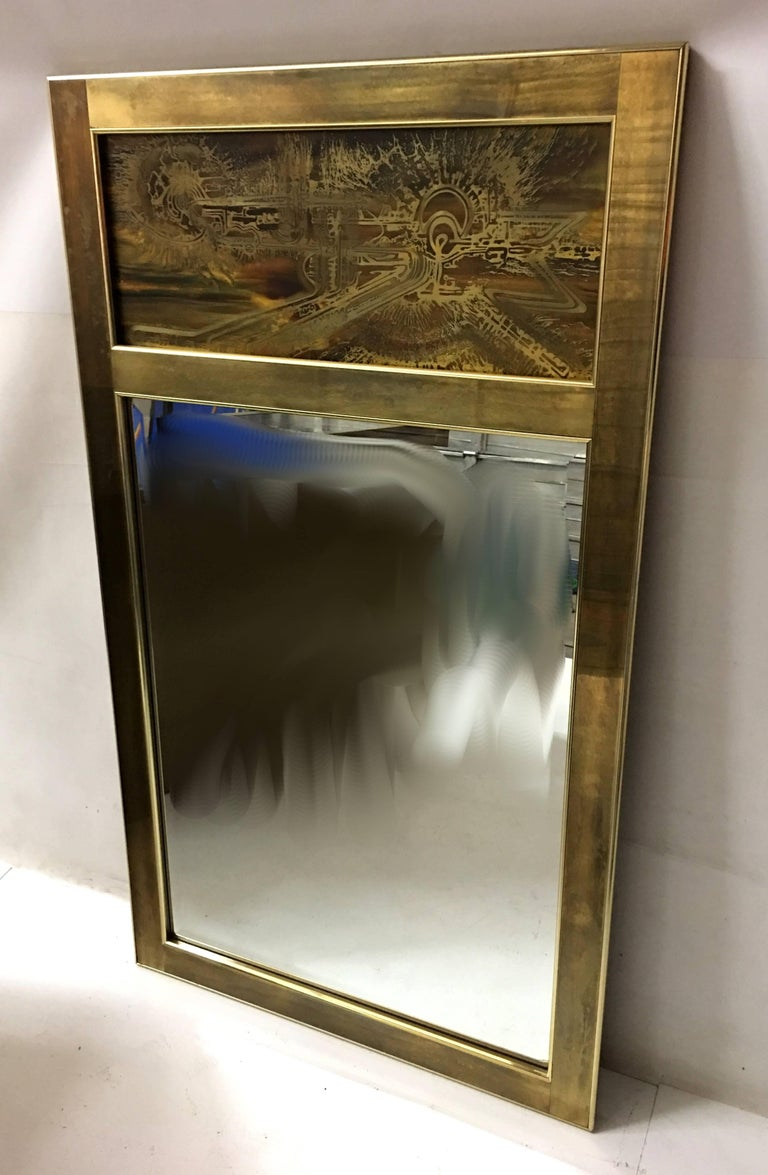 Mid-Century Modern Fine Etched Brass Pier Mirror by Bernard Rohne for Mastercraft For Sale