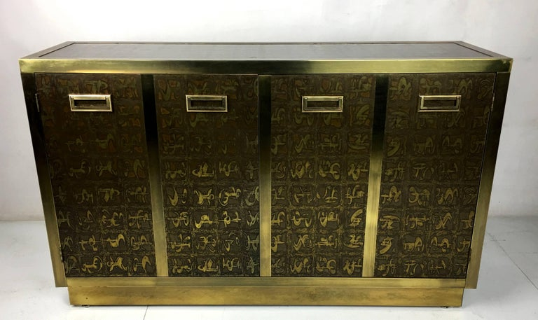 Mid-Century Modern Rare Etched Brass Cabinet by Bernard Rohne for Mastercraft For Sale