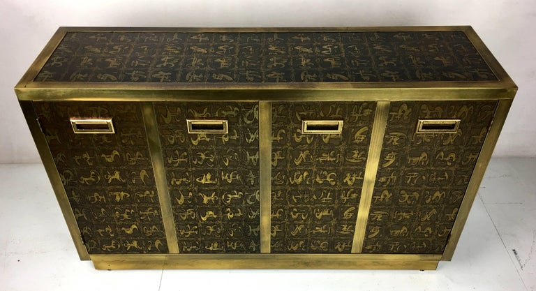 Rare Etched Brass Cabinet by Bernard Rohne for Mastercraft In Excellent Condition For Sale In San Leandro, CA