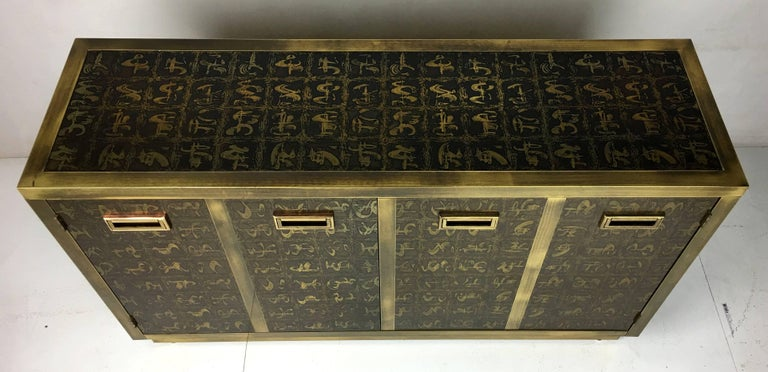 Late 20th Century Rare Etched Brass Cabinet by Bernard Rohne for Mastercraft For Sale