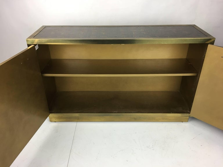 Hardwood Rare Etched Brass Cabinet by Bernard Rohne for Mastercraft For Sale