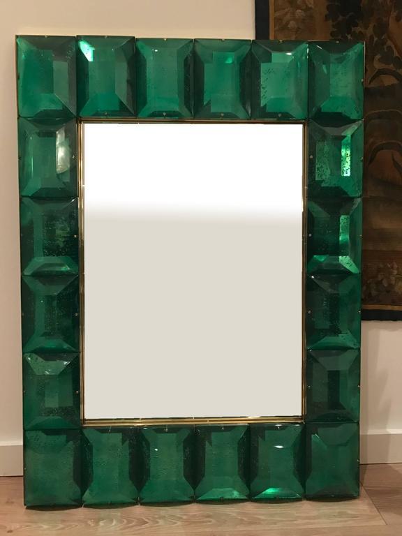 Emerald Green Murano Glass Framed Mirror 2