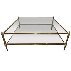 Maison Jansen attributed Large Two-Tier Brass Coffee table